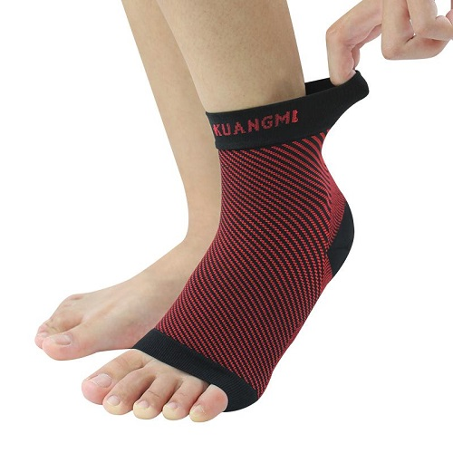 Putting on compression foot sleeve