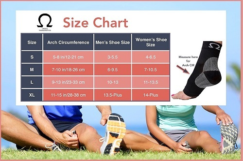 Omega Compression Foot Sleeve Sizes Chart