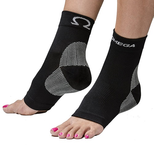 Woman Wearing Omega Compression Foot Sleeves