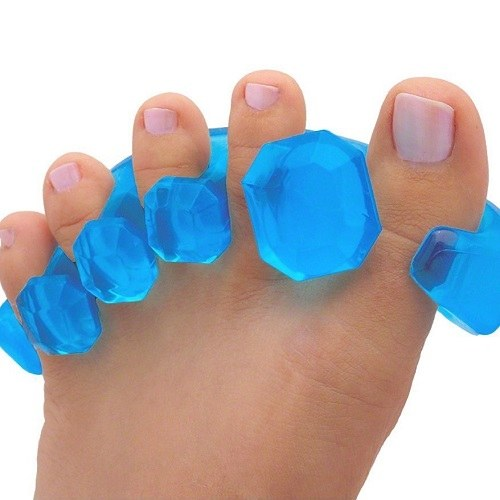 Close Up of YogaToes Gems - Gel Toe Stretcher & Separator on Toes